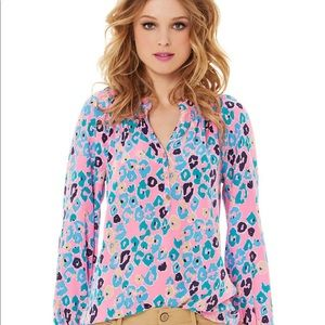 Lilly Pulitzer Elsa Blouse in Pink Paws Off Print